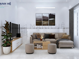 Nội thất nhà phố Hóc Môn - Cô Dung - 2 PN Công ty Cổ Phần Nội Thất Mạnh Hệ Hành lang, sảnh & cầu thang phong cách hiện đại Kim loại Brown