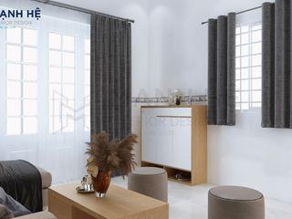 Nội thất nhà phố Hóc Môn - Cô Dung - 2 PN Công ty Cổ Phần Nội Thất Mạnh Hệ Cửa nhà để xe Gạch ốp lát Beige