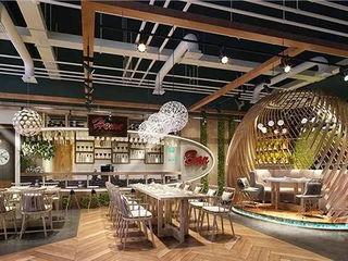 Use Artificial Plants in Interior Space Decor-- Restaurant Sunwing Industries Ltd Espaços comerciais modernos Plástico Verde