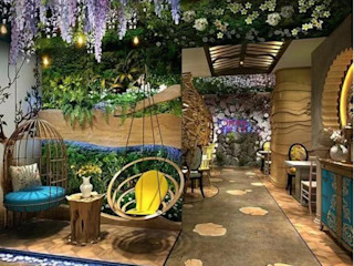 Use Artificial Plants in Interior Space Decor-- Restaurant Sunwing Industries Ltd Espaços comerciais modernos Plástico Multicolor