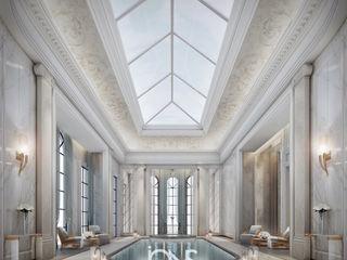 Indoor pool in Neoclassical Style Interior IONS DESIGN สระในสวน หิน White