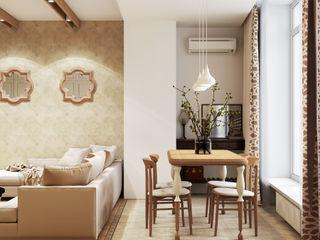 Artichok Design Ruang Keluarga Gaya Mediteran Kayu Beige