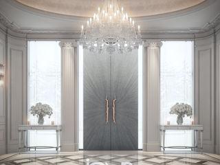 Luxurious New Classic Villa Design IONS DESIGN ระเบียงและโถงทางเดิน ไม้จริง Grey