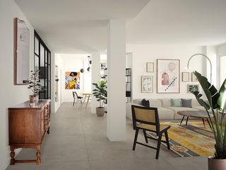 Studio Zay Architecture & Design Living room Concrete White