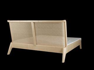Bett mit Kopfteil aus Wiener Geflecht Holzarbeiten André Findeisen Moderne Schlafzimmer Massivholz