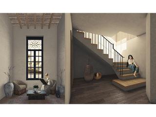 Cervantes Bueno arquitectura Rustic style corridor, hallway & stairs Ceramic Wood effect