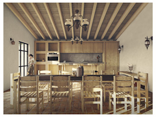 Cervantes Bueno arquitectura Rustic style dining room Wood Wood effect
