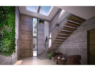 Cervantes Bueno arquitectura Modern corridor, hallway & stairs Concrete Grey