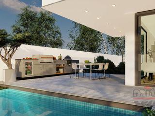 """Projekt und Visualisierung von """"Villa 1"""" - Innenarchitektur MITKO DESIGN Moderner Garten"""