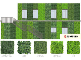 Case Study of Artificial Green Wall Sunwing Industries Ltd Espaços comerciais asiáticos Plástico Verde