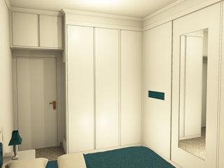 Armadio a muro su misura per camera da letto Falegnamerie Design Camera da letto moderna Legno Bianco