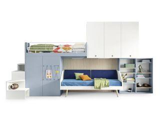 Spazio per i bambini. L&M design di Marelli Cinzia Camera da letto piccola Legno composito Turchese