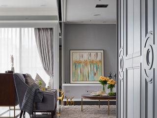 輕奢×時尚美式宅 昱承室內裝修設計 經典風格的走廊,走廊和樓梯 Grey