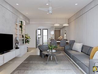 Thiết kế nội thất căn hộ 77m2 Topaz Twin 2 PN Công ty TNHH Tư vấn thiết kế xây dựng An Khoa Phòng ăn phong cách hiện đại