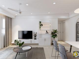 Thiết kế nội thất căn hộ 77m2 Topaz Twin 2 PN Công ty TNHH Tư vấn thiết kế xây dựng An Khoa Phòng khách