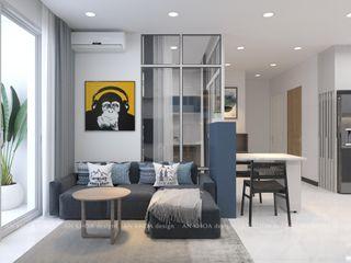 THIẾT KẾ NỘI THẤT CĂN HỘ CHUNG CƯ 75M2 2 PHÒNG NGỦ RICHSTAR Công ty TNHH Tư vấn thiết kế xây dựng An Khoa Phòng khách