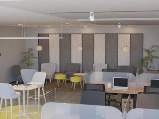 4 + Arquitectura Escritório e loja Têxtil Cinza