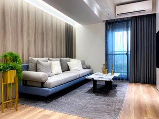 灰調的質感溫度|訂製布紗簾・布織百葉簾 MSBT 幔室布緹 现代客厅設計點子、靈感 & 圖片 複合木地板 Grey