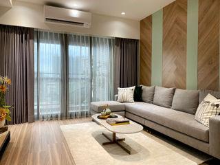灰調的質感溫度|訂製布紗簾・布織百葉簾 MSBT 幔室布緹 客廳 複合木地板 Brown