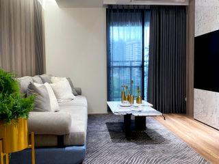 灰調的質感溫度|訂製布紗簾・布織百葉簾 MSBT 幔室布緹 现代客厅設計點子、靈感 & 圖片 Grey