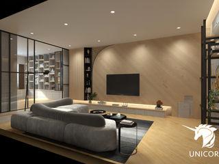 透天翻修3D透視圖 Unicorn Design 客廳