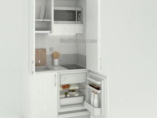 Mini cucina armadio da cm. 109: la più piccola cucina monoblocco della serie MiniCompact MiniCucine.com CucinaArmadietti & Scaffali Legno Bianco