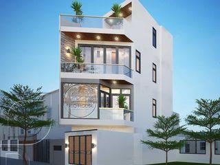 Thiết kế thi công nhà phố vát góc 3 tầng 1 tum hiện đại mặt tiền 4m NEOHouse