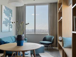Дизайн бюро Татьяны Алениной Salas de estilo moderno Gris