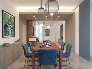 Appartamento al Parco Azzurro arch. Lorenzo Criscitiello Sala da pranzo moderna Blu