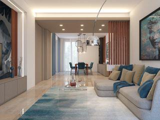 Appartamento al Parco Azzurro arch. Lorenzo Criscitiello Soggiorno moderno Blu