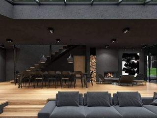 كاسل للإستشارات الهندسية وأعمال الديكور والتشطيبات العامة Modern living room Wood Black