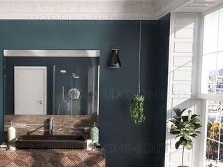 Stanza da bagno con grande vetrata e vista sulla città Alessandro Chessa Bagno minimalista