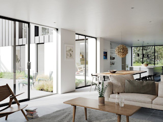 Marshall McCann Architects Ruang Keluarga Modern Ubin White