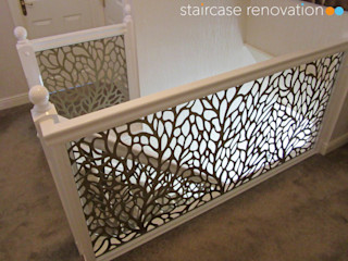 Laser cut balustrade infill panels replacing wooden spindles - Autumn design Staircase Renovation درج معدن