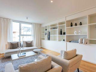 Münchner home staging Agentur GESCHKA Chambre minimaliste Blanc