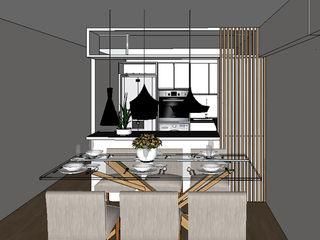 Departamento de 60 m2 Shirley Palomino Comedores de estilo escandinavo Beige