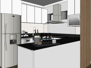 Departamento de 60 m2 Shirley Palomino Cocinas de estilo escandinavo Aglomerado Blanco