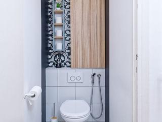 Rénovation d'un appartement avec vue à Lyon 6 Tiffany FAYOLLE Salle de bain scandinave Effet bois