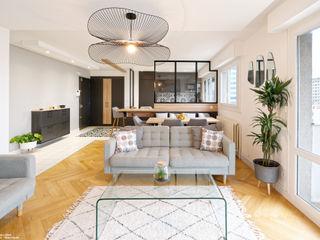Rénovation d'un appartement avec vue à Lyon 6 Tiffany FAYOLLE Salon scandinave