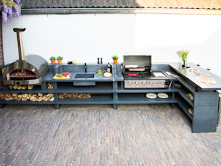 Cocina exterior con horno de leña 4 PIZZE Alfa Forni Balcones y terrazasAccesorios y decoración