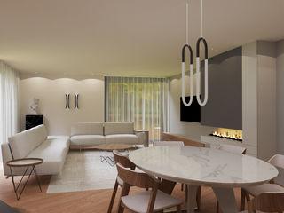 Vivenda   Santa Maria da Feira   PROJETO 3D Angelourenzzo - Interior Design Salas de jantar minimalistas