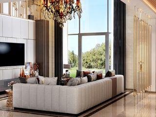 HC Designs Ruang Keluarga Modern Beton White