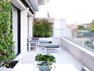 HECTÁREAS DE CASA GOS ARCH·LAB Balcones y terrazas de estilo moderno Piedra Gris