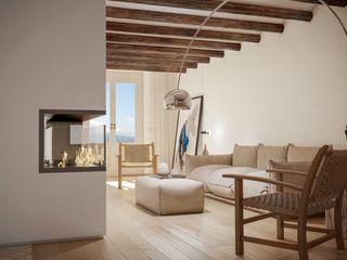 Proyecto de arquitectura, interiorismo y rehabilitación , Belltall Michele Mantovani Studio Salones de estilo moderno Madera maciza Beige