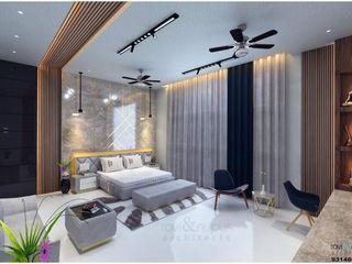 RAVI - NUPUR ARCHITECTS Chambre moderne Pierre Blanc