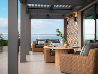 Студия дизайна ROMANIUK DESIGN Scandinavische balkons, veranda's en terrassen