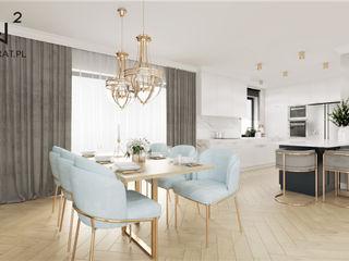 Wkwadrat Architekt Wnętrz Toruń Cocinas integrales Piedra Azul