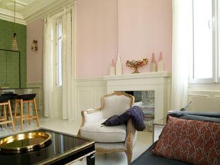 Villa en Biarritz Bitarte arquitectura & interiorismo Salones de estilo moderno Piedra Multicolor