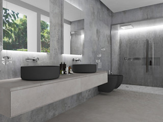 Studio Zay Architecture & Design Kamar Mandi Modern Beton Grey