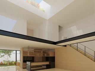 FLORES ROJAS Arquitectura Salones de estilo minimalista